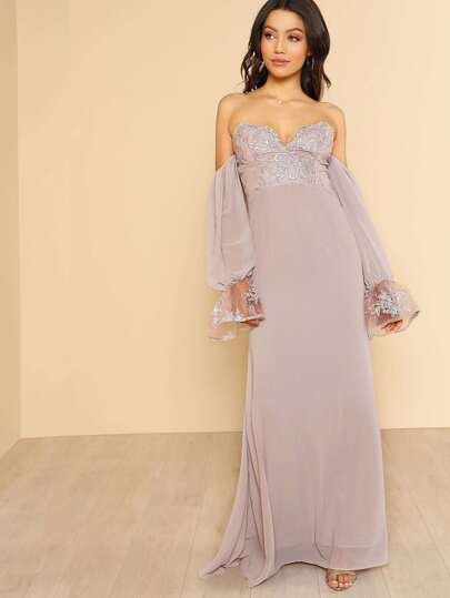 Bardot Sleeve Lace Accent Maxi Dress LILAC GREY