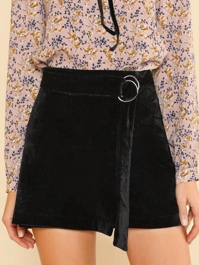 Velvet O Ring Belted Back Zip Up Skirt BLACK