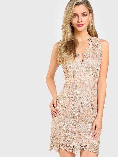 Dual V Neck Floral Lace Overlay Dress