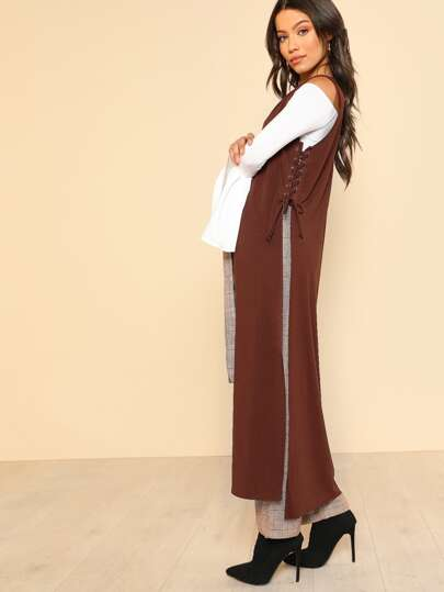 Side Lace Up Sleeveless Duster RUST