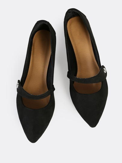 Side Button Point Toe Flats BLACK