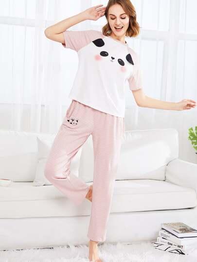 Conjunto de pijama con panda a rayas