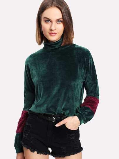 Contrast Faux Fleece Panel Velvet Pullover