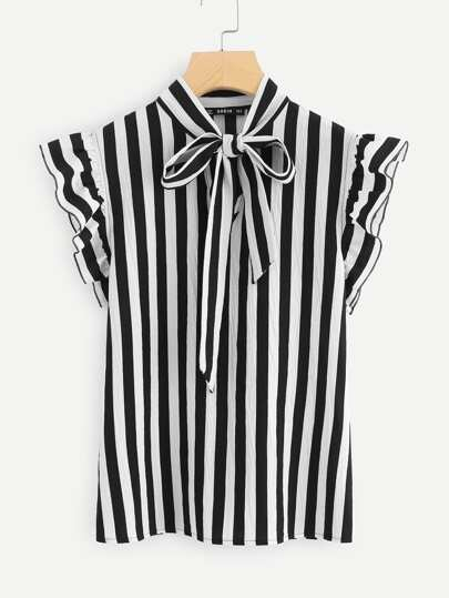 Tie Neck Flutter Sleeve Striped Blouse