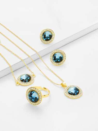 Contrast Round Design Necklace & Ring & Bracelet Set