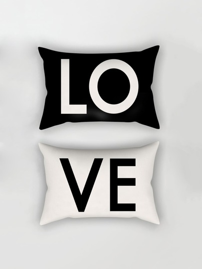 Letter Print Pillowcase Cover 1pairs