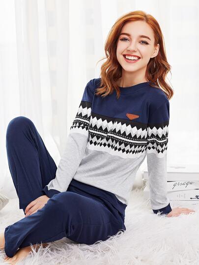 Zigzag Print Long Pajama Set
