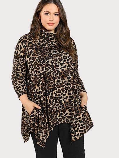 Cowl Neck Hanky Hem Leopard T-shirt