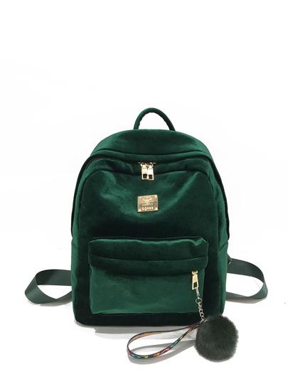 Pocket Front Velvet Backpack With Pom Pom