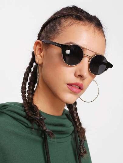 Gafas de sol de lentes redondas con doble puenta