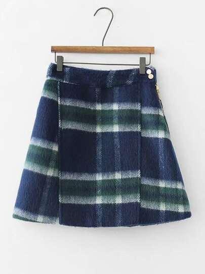 Falda de mezcla de lana de cuadros