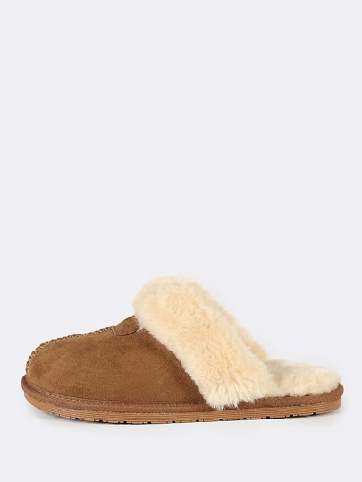 Fuzzy Lined Suede Slippers TAN