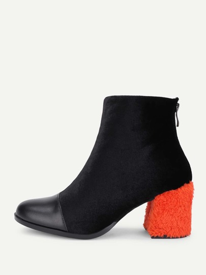 Two Tone Block Heeled Ankle Boots