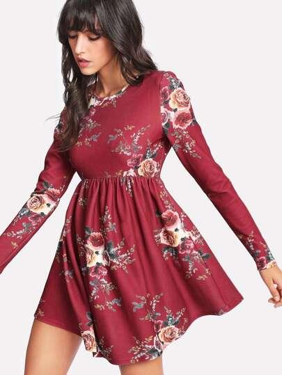 Flower Print Smock Dress
