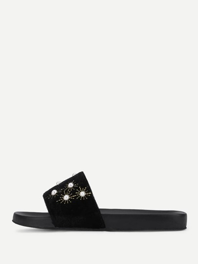 Faux Pearl Decorated Velvet Flat Sandals