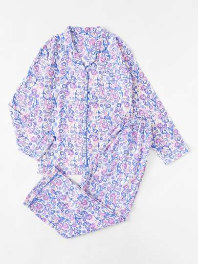 Mixed Print Long Pajama Set