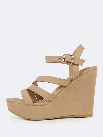 Faux Suede Strappy Wedges TAN