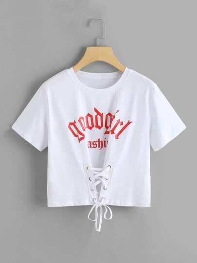 Tee-shirt imprimé des lettres à lacets