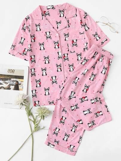 Dog Print Pajama Set