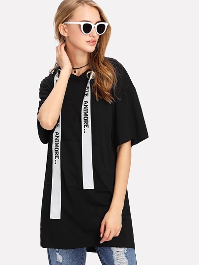 Tee-shirt à capuche détail d\'œillet avec bande de lettre