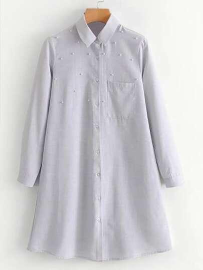 Faux Pearl Shirt Dress