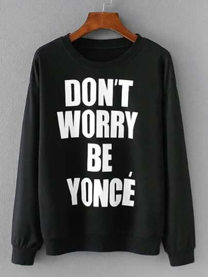 Slogan Print Boyfriend Jumper