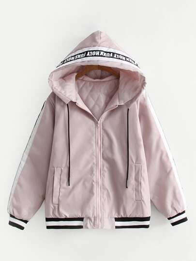 Slogan Tape Quilted Hooded Jacket