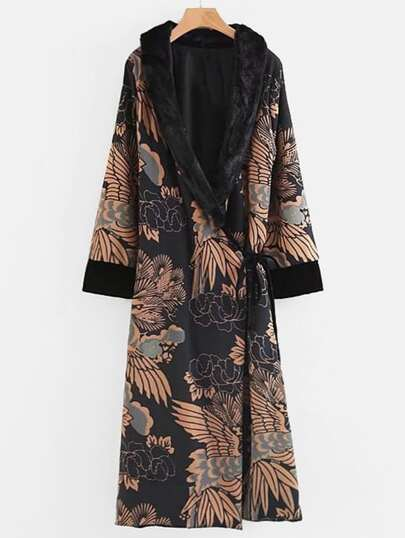 Faux Fur Collar Self Tie Long Kimono