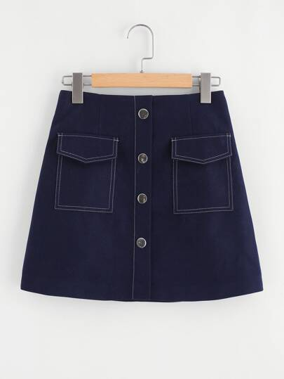 Contrast Stitching Single Breasted Skirt