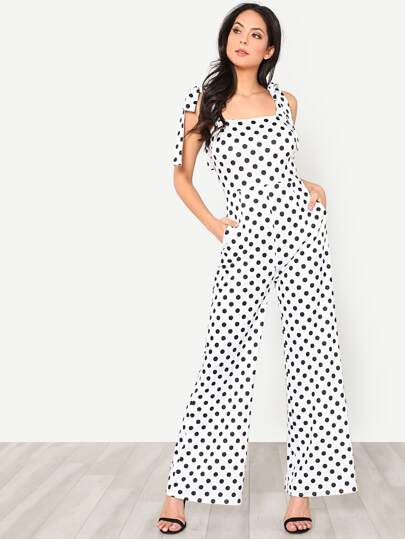 Self Tie Shoulder Wide Leg Polka Dot Jumpsuit