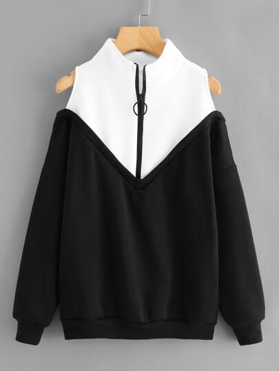 Contrast Panel Open Shoulder Pullover
