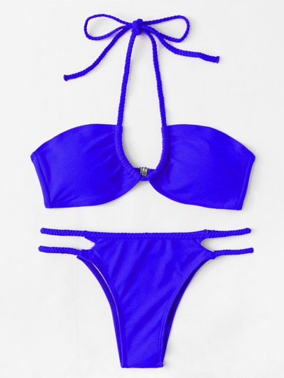 Set de bikini con tiras trenzadas