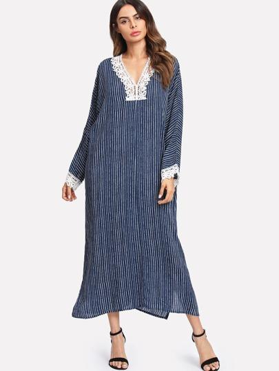 Contrast Crochet Trim Split Side Striped Dress 8c75e2b5d7f0