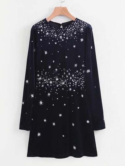 Robe en velours avec étoiles