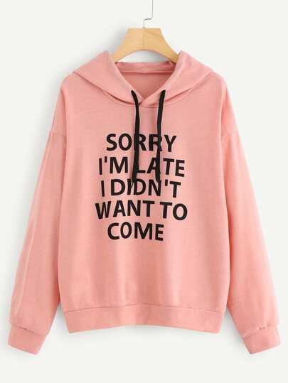Camisa de capucha con hombro caído con slogan