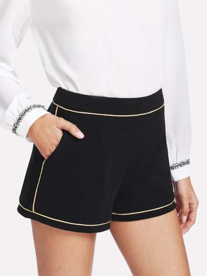 Contrast Piping Pocket Side Shorts