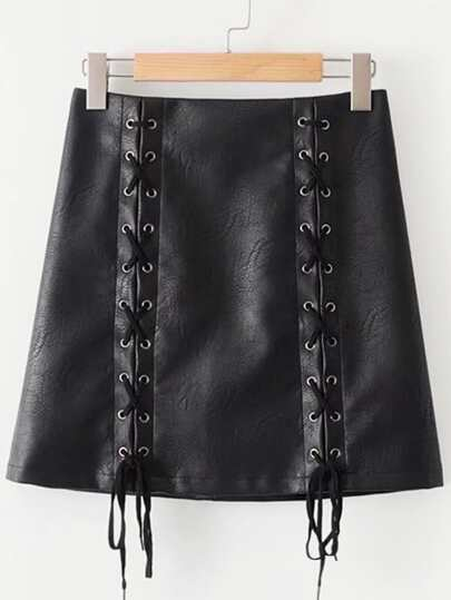 Lace Up PU Skirt