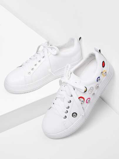 Embroidery Detail PU Sneakers With Rhinestone
