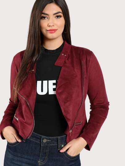 Faux Suede Asymmetric Zip Up Jacket WINE