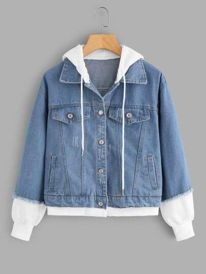 2 In 1 Ribbed Knit Trim Hooded Denim Jacket