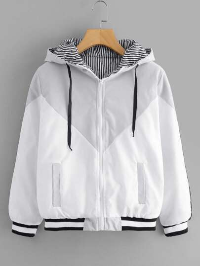 Striped Trim Cut And Sew Hooded Coat
