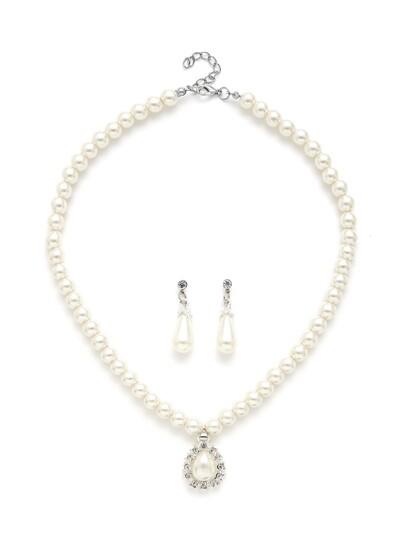 Water Drop Faux Pearl Design Necklace & Earring Set