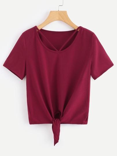 V Strap Neck Knot T-shirt