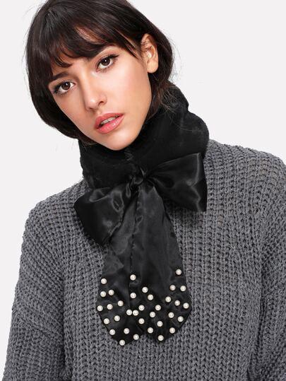 Self Tie Faux Pearl Collar