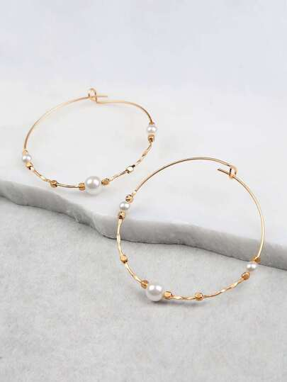 Pearl Accent Hoop Earrings GOLD