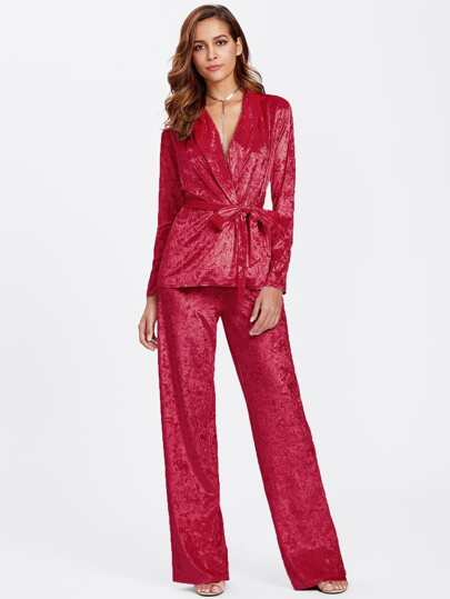 Crushed Velvet Wrap Top & Pants Pajama Set