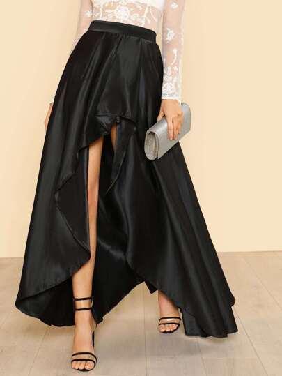 Hi Low Satin Ruffled Skirt BLACK