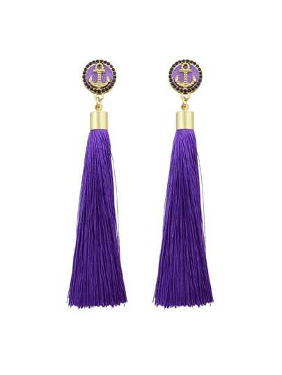 Purple Anchor Decoration With Long Tassel Drop Statement Earrings