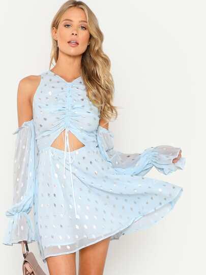 Silver Print Drawstring Front Cold Shoulder Dress