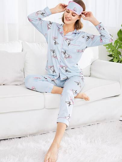 Conjunto de pijama de rayas con conejo